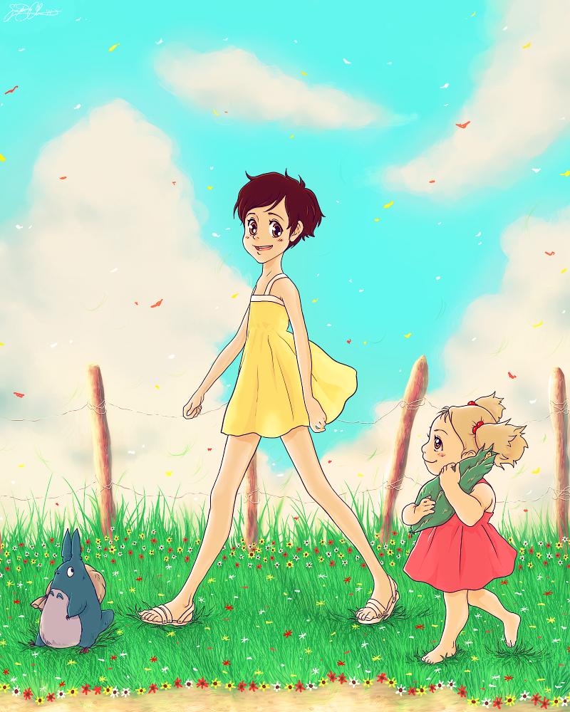 Satsuki and Mei Kusakabe .My Neighbor Totoro. by dwightyoakamfan