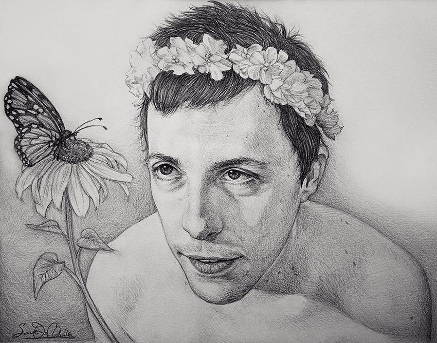 Sunflower -- 9x12 pencil portrait by dwightyoakamfan