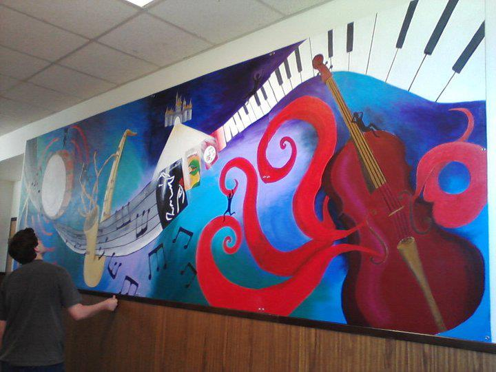 Big music drama mural painting by fozzilfox on deviantart for Elementary school mural
