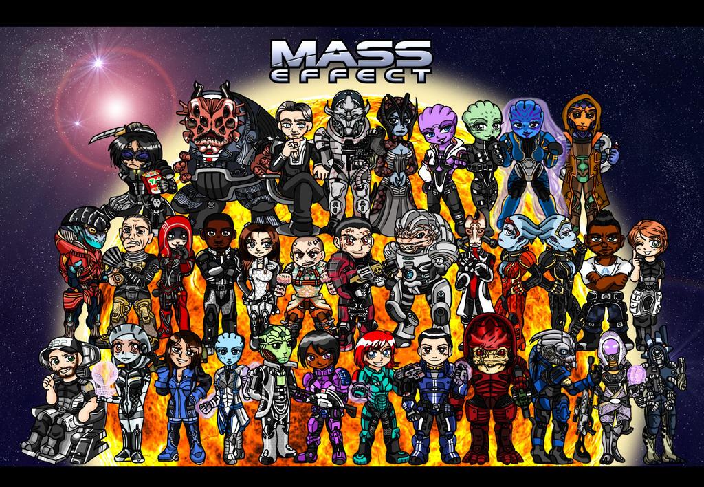 Mass Effect Chibi Group by AmayaMarieSuta