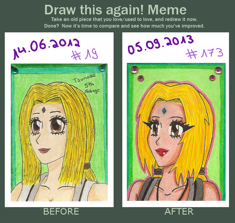 Draw this again! Tsunade ACEO #19 and #173 by Shiako-sama