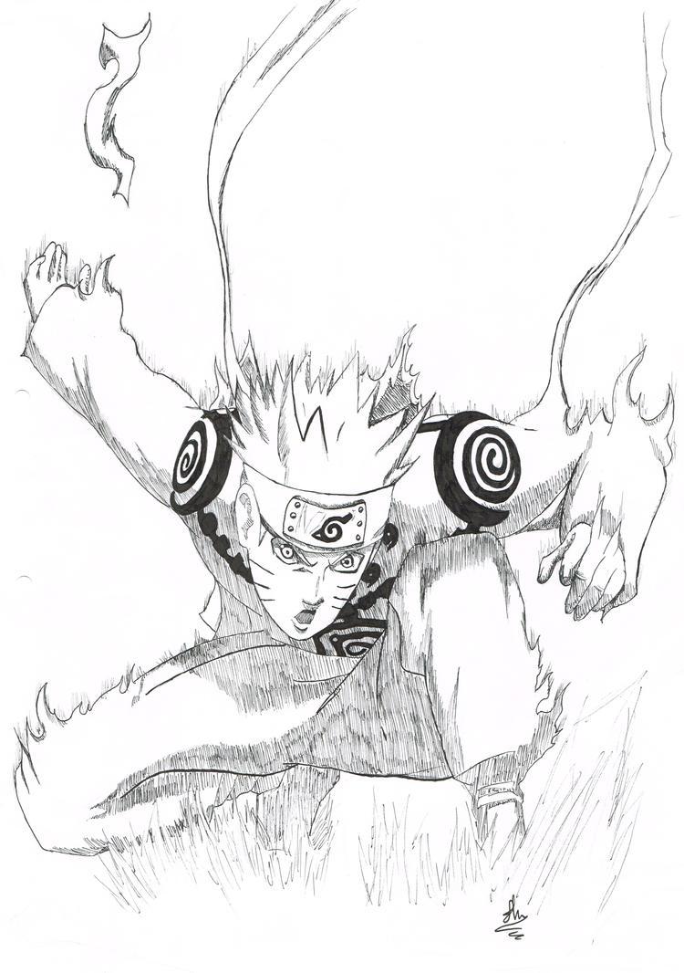 Naruto uzumaki nine tailed fox drawing