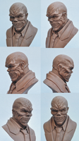 Black Mask Bust Monster Clay Sculpt by AntWatkins