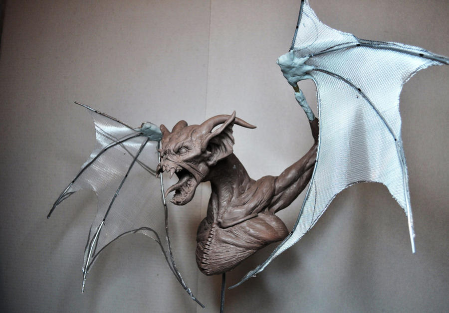 Creature Bust WIP-Building wings by AntWatkins