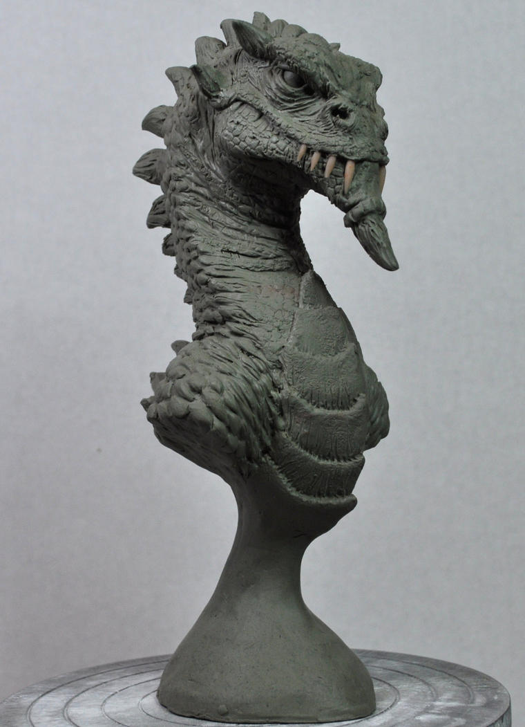 Vacation Dragon bust sculpt by AntWatkins