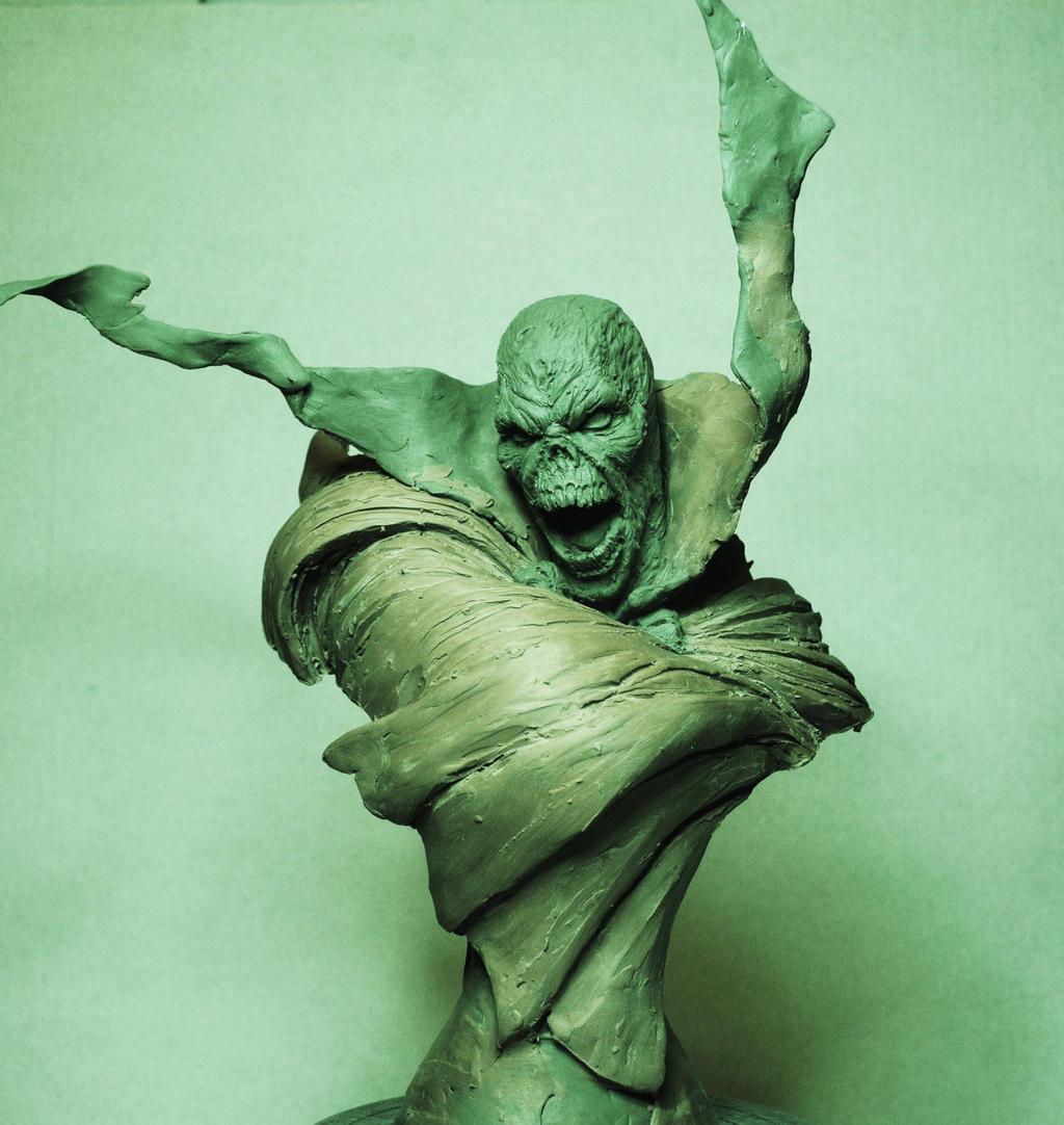 Spawn bust Hellspawn rough sculpt by AntWatkins