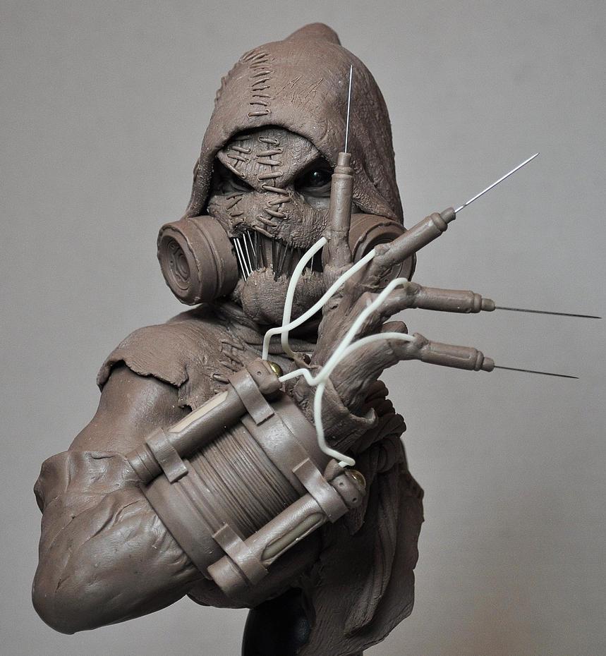 Batman Arkham Asylum Scarecrow Bust Sculpt 1 by AntWatkins