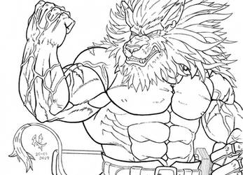 Request 22 - Angry Leomon [Lineart] by Mega-Charizar