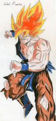 [Old Drawing - 2008] Goku SSJ by Mega-Charizar