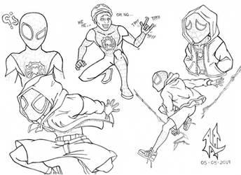 Gift Drawing - Miles Morales Fan-Art [Lineart] by Mega-Charizar