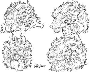 Commission 31 - Skarn Expressions [Lineart]