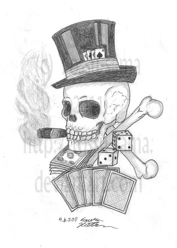 poker skull tattoo design by tossu sama on deviantart. Black Bedroom Furniture Sets. Home Design Ideas
