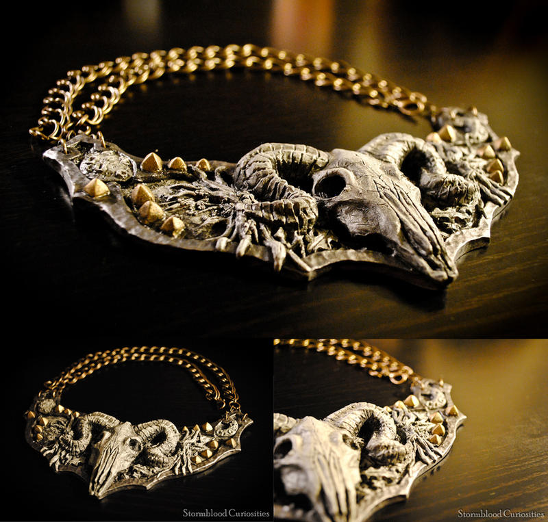 Ram Skull Fantasy Armor Sculpted Neck Piece by StormbloodCurio