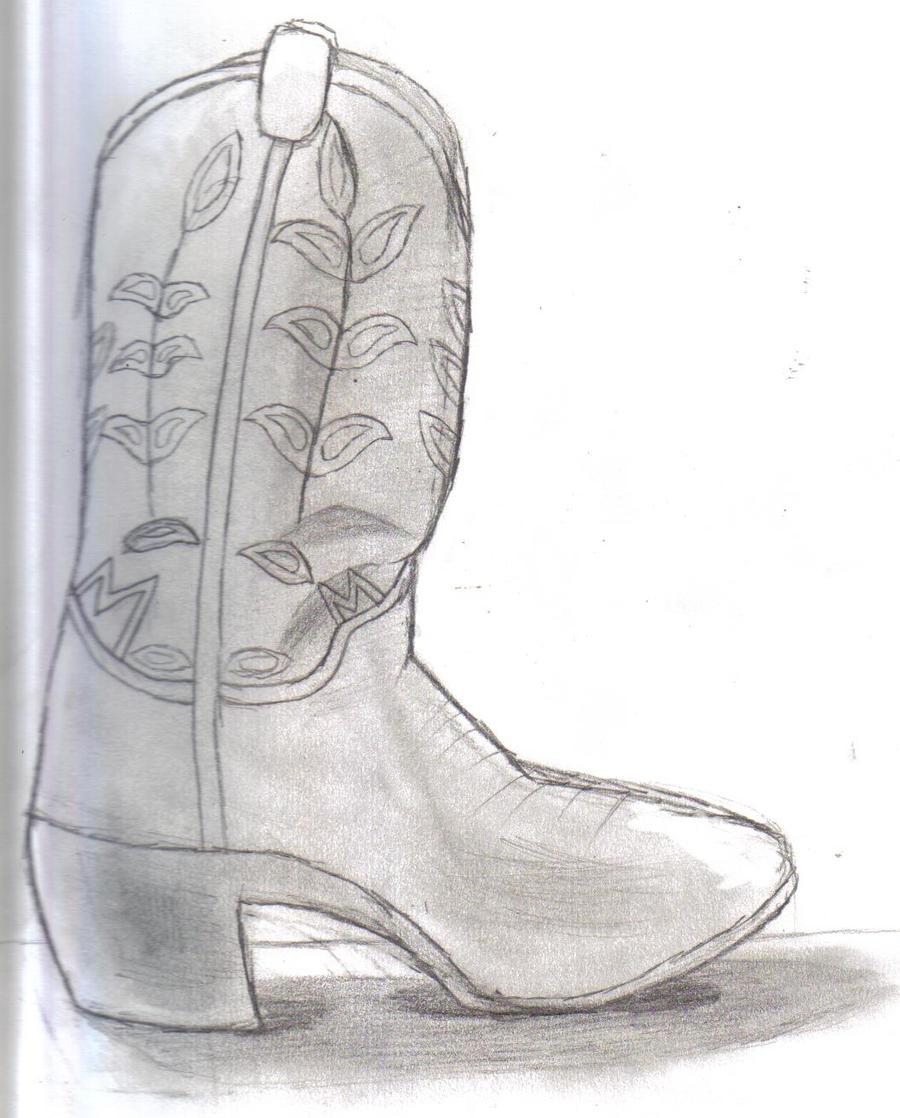 cowboy boot pencil sketch by californiahunt24 on deviantart