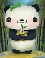Panda and Turtwig by Oats-Art