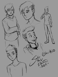 Eyes on the Genius Protagonist Sketches 1 by neilak20