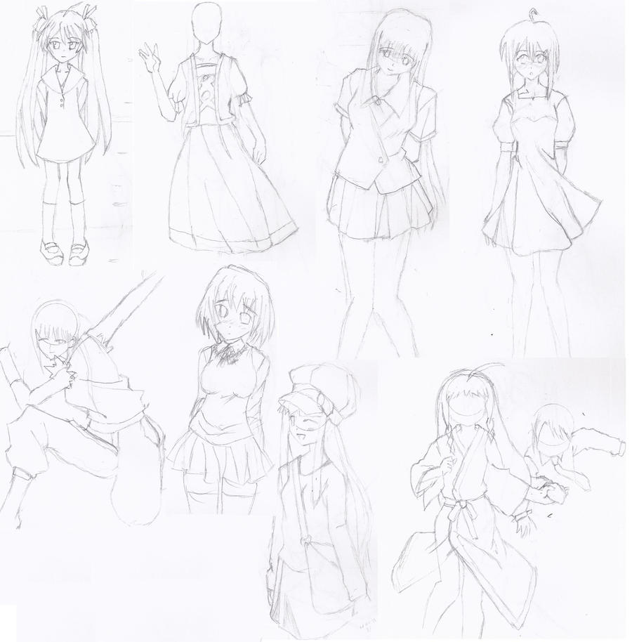 Anime Girl Rough Sketch Compilement By Lanceor On DeviantART