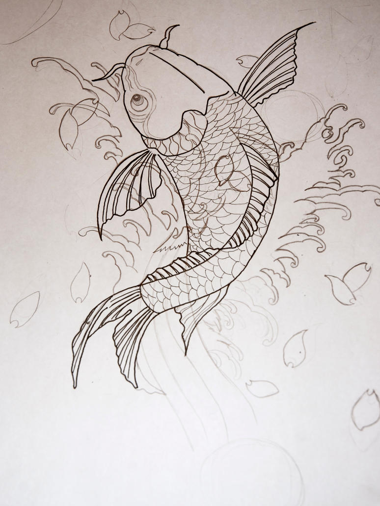 Koi fish tattoo sketch by jrsalido218 on deviantart for Koi fish sketch