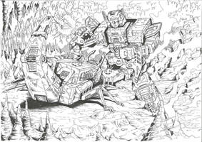 Scorponok vs Fortress Maximus by JoeTeanby