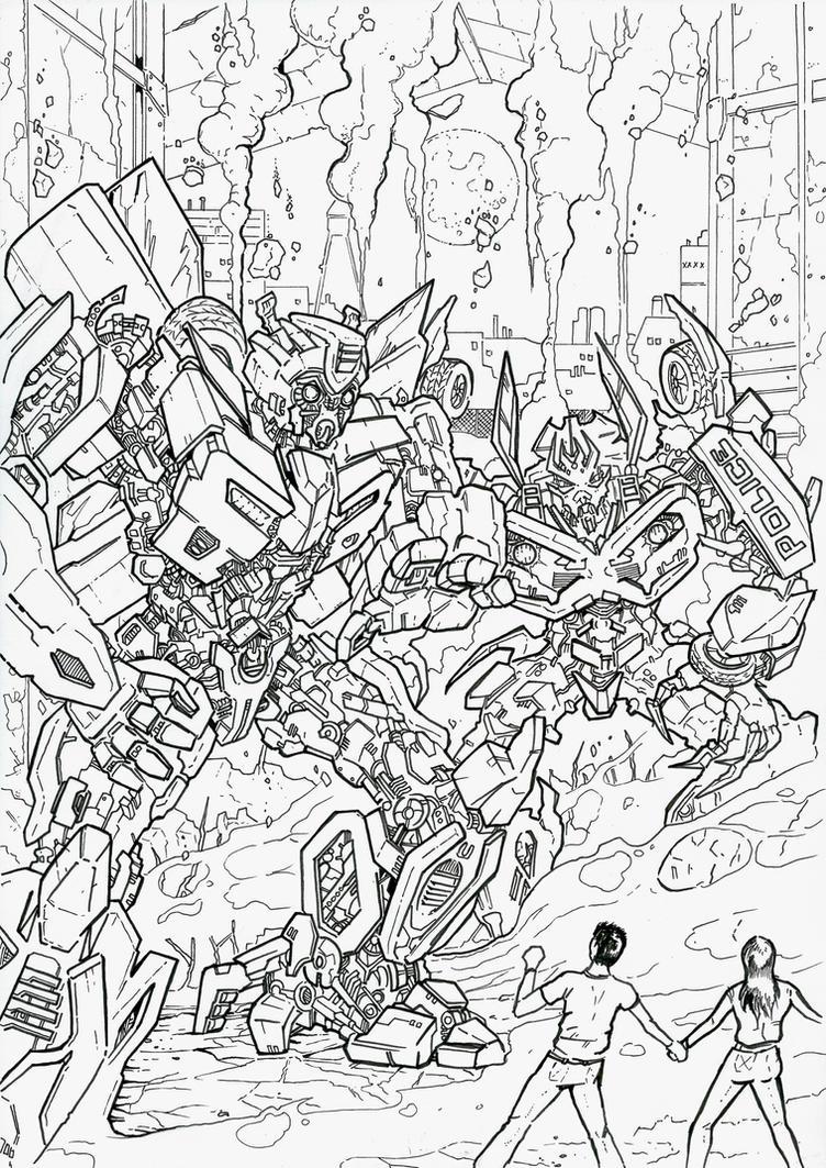 Bumblebee and Barricade by JoeTeanby