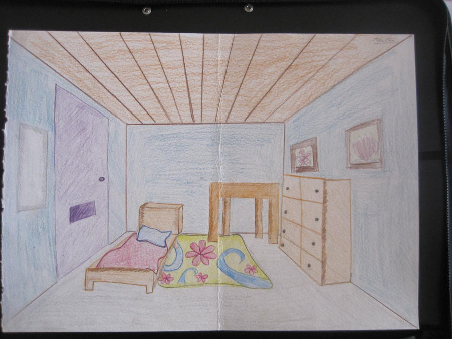 bedroom drawing one point perspective 3 point perspective bedroom by
