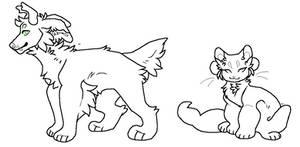 F2U Cat and Dog Lineart