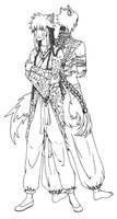 Kistune and Ookami lineart