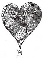 1st Heart Zentangle by Heidipickels