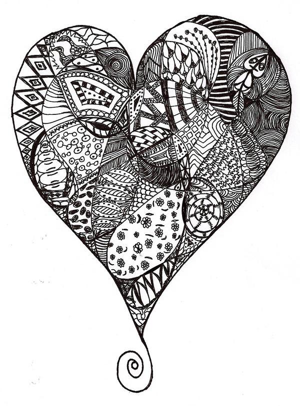 1st heart zentangle by heidipickels on deviantart. Black Bedroom Furniture Sets. Home Design Ideas