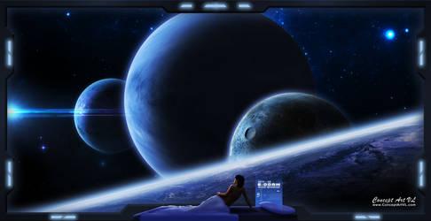 STELLAR SUNRISE - Through the Starship's Window by conceptartvl