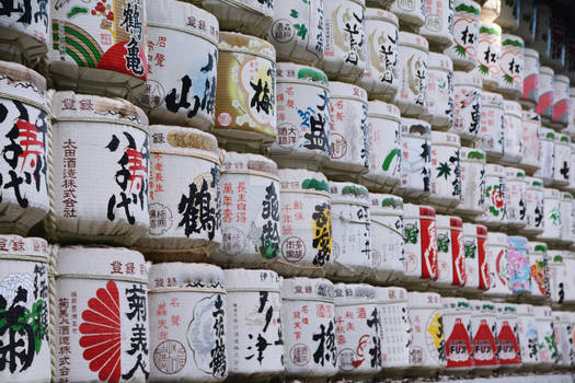 Saki Barrels Outside of Shinto Shrine in Japan