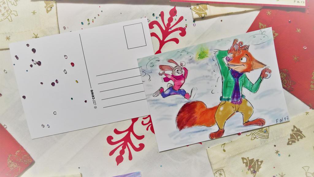 Christmas postcards Zootopia  by MurLik
