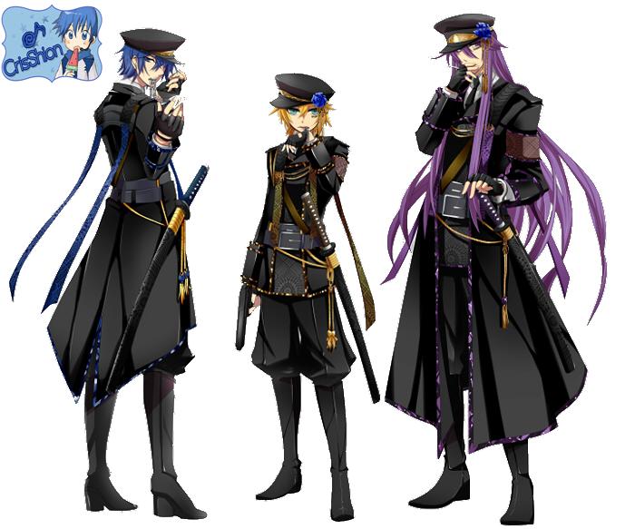 Kaito ,Gakupo and Len by CrisShion on DeviantArt Kaito X Len X Gakupo