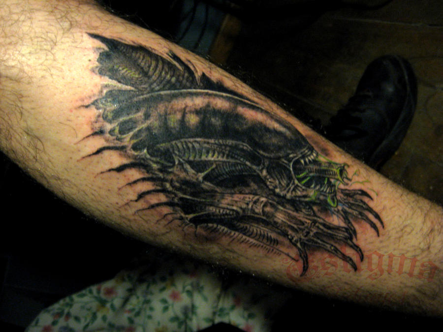 Alien tattoo cover up by andralien on DeviantArt
