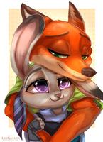 =Zootopia= Nick x Judy by LeoKatana