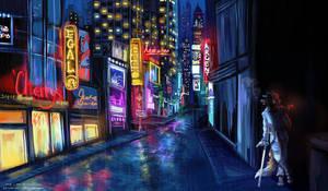 <b>{Commission} - Rainy Night In The City</b><br><i>LeoKatana</i>