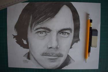 Karel Kryl, pencil drawing portrait by Krema-ART