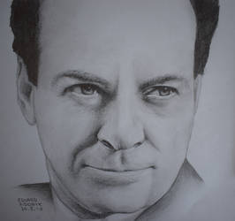 Richard Feynman, pencil drawing portrait by Krema-ART