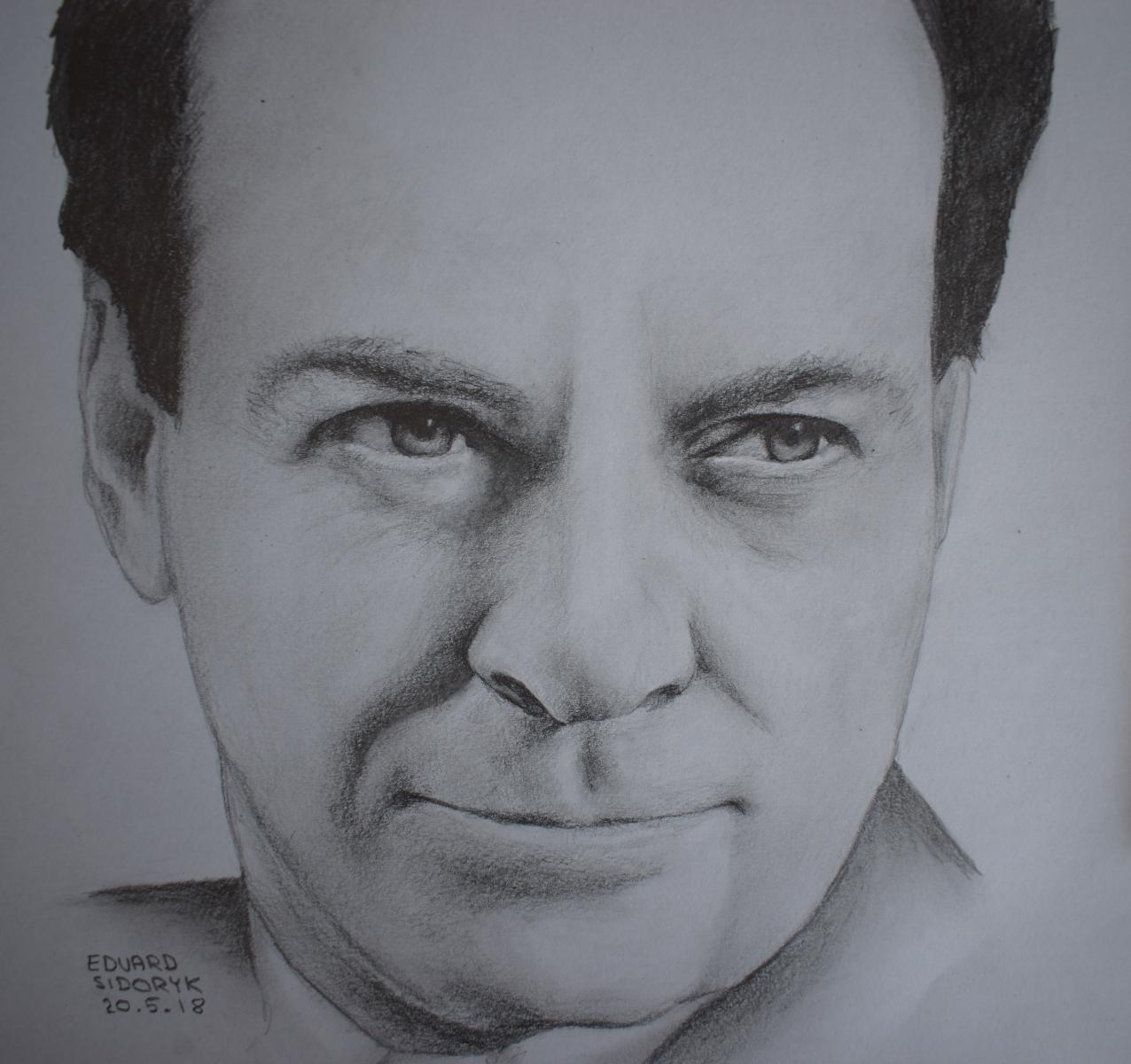 Richard Feynman, pencil drawing portrait by Krema-ART