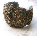 Beaded Filigree Cuff Bracelet