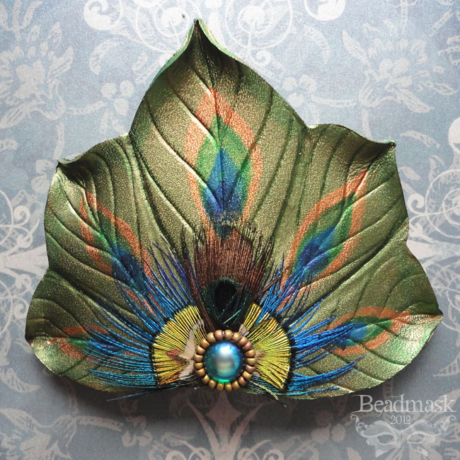 Peacock Fan Barrette by Beadmask