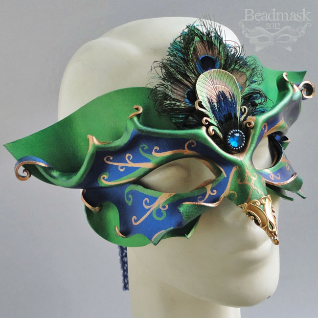 Venetian Peacock Mask by Beadmask
