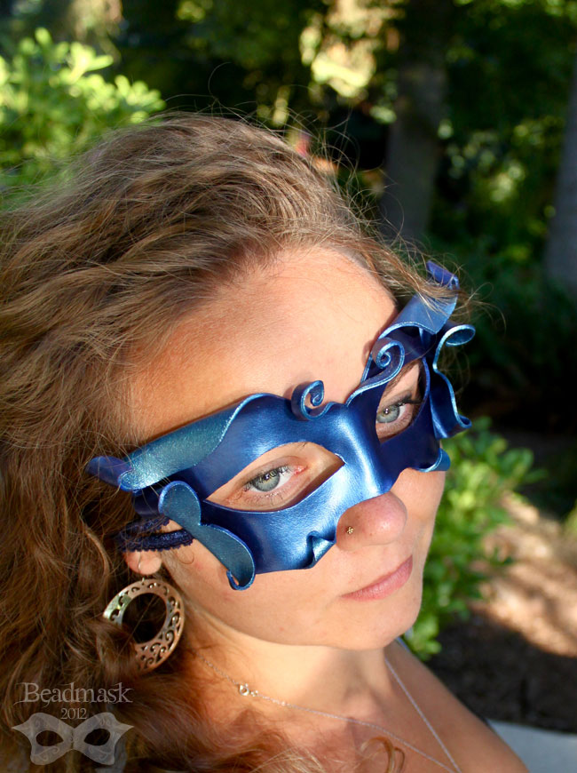 Spriteling Leather Mask in Cobalt and Aqua by Beadmask