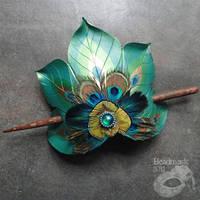 Peacock Feather Fan Hair Slide by Beadmask