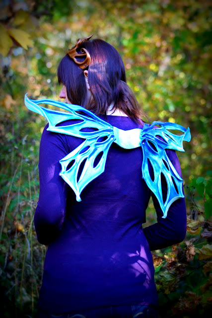 Blue Leather Fairy Wings by Beadmask