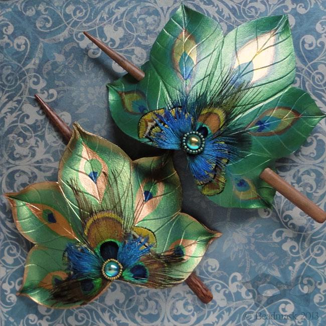 Peacock fan hair slides by Beadmask