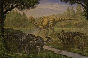 Parasaurolophus, Lambeosaurus magnicristatus by ABelov2014