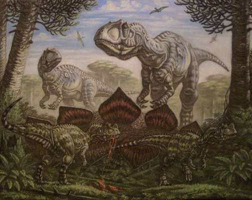 Allozaurus, young Ceratosaurus.