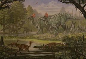 Olorotitan, Anserimimus, Charonosaurus. by ABelov2014