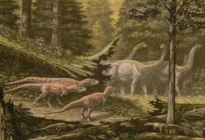 Saltasaurus, Aucasaurus, Noasaurus. by ABelov2014